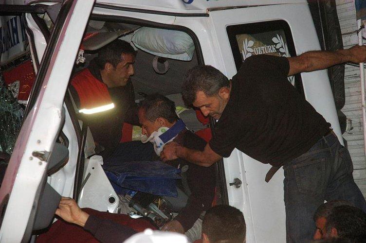 TIR şoförü uyuya kaldı: 2 yaralı!