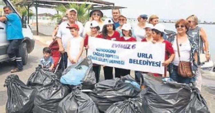 Urla'da 650 kg atık toplandı