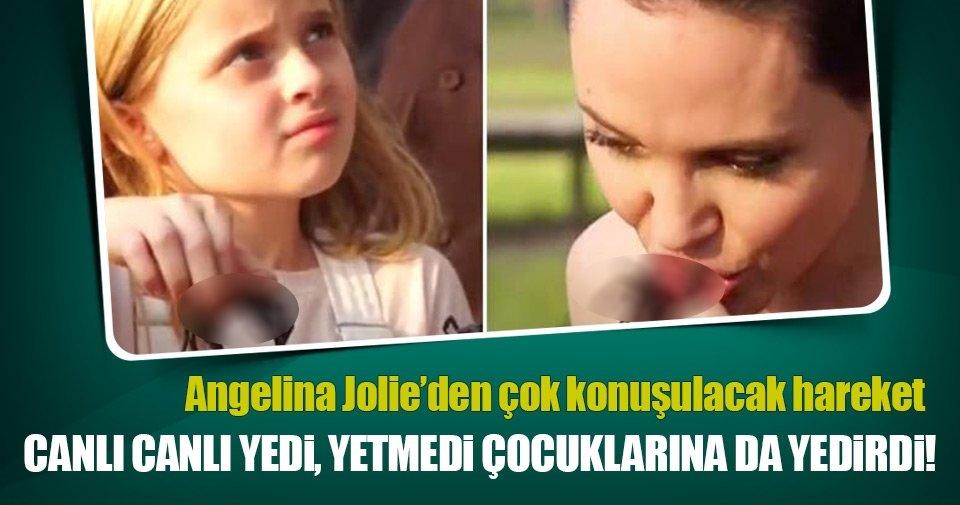Angelina Jolie canlı canlı örümcek yedi