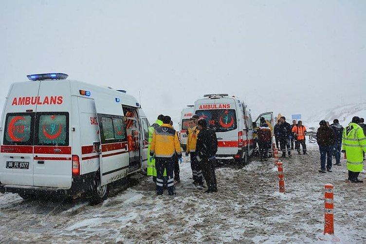 Elmadağ'da otobüs devrildi: Yaralılar var
