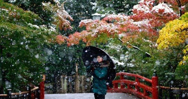Tokyo'ya 54 yıl sonra ilk Kasım karı yağdı