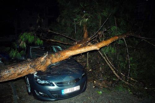 Antalya'da fırtına hayatı felç etti