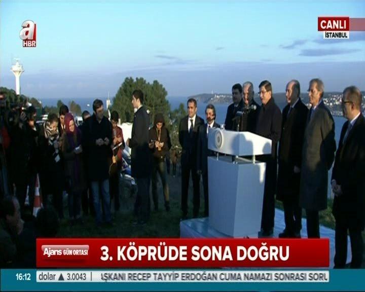 Başbakan Davutoğlu, 3. boğaz köprüyü helikopterle inceledi