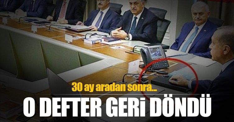 Erdoğan'ın kara kaplı defteri geri döndü