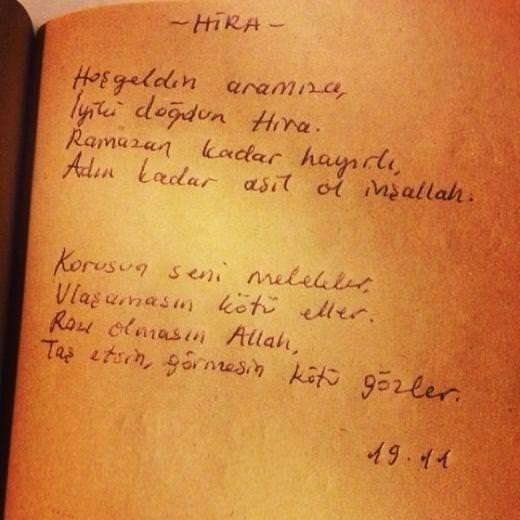 Okan Kurt'tan kızı Hira'ya hoşgeldin şiiri