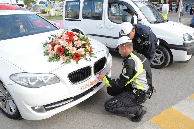 Gelin ve damada düğün günü trafik cezası şoku