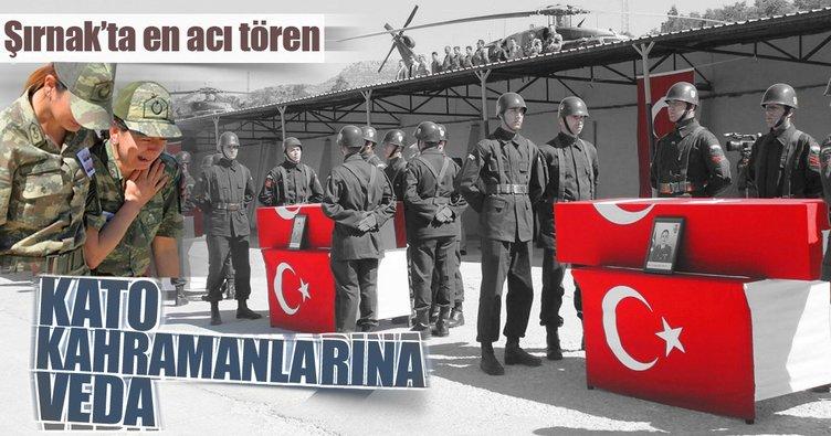 Şehitlerimiz için Şırnak'ta en acı tören