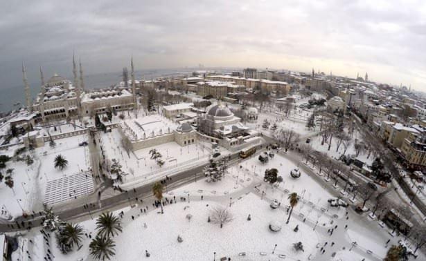 Beyaz İstanbul havadan böyle görüntülendi