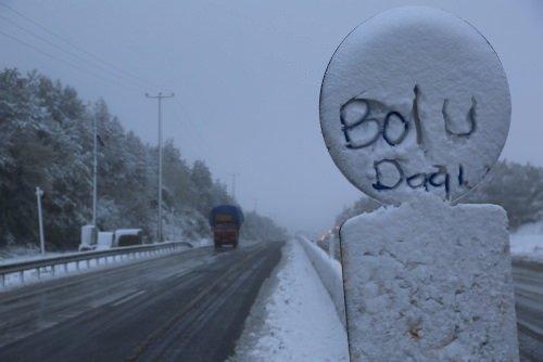 Bolu Dağı'nda kar