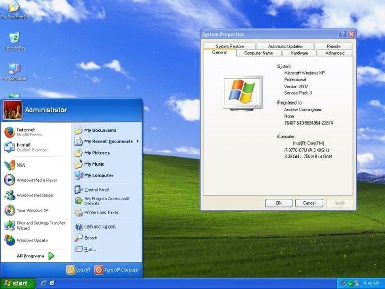 Windows başlangıç menüsünün görsel tarihi