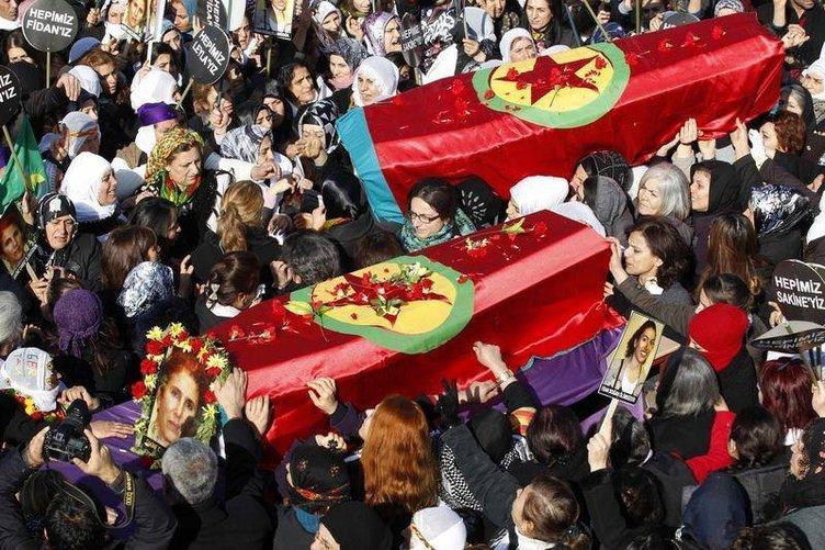 Üç PKK'lının cenaze töreninden görüntüler