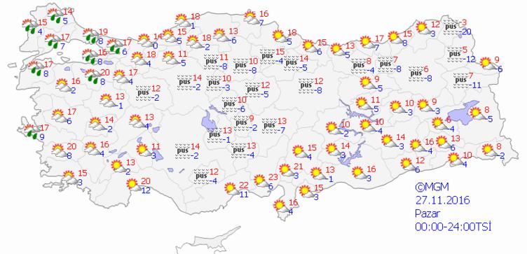 Yurtta 5 günlük hava durumu (27.11.2016)