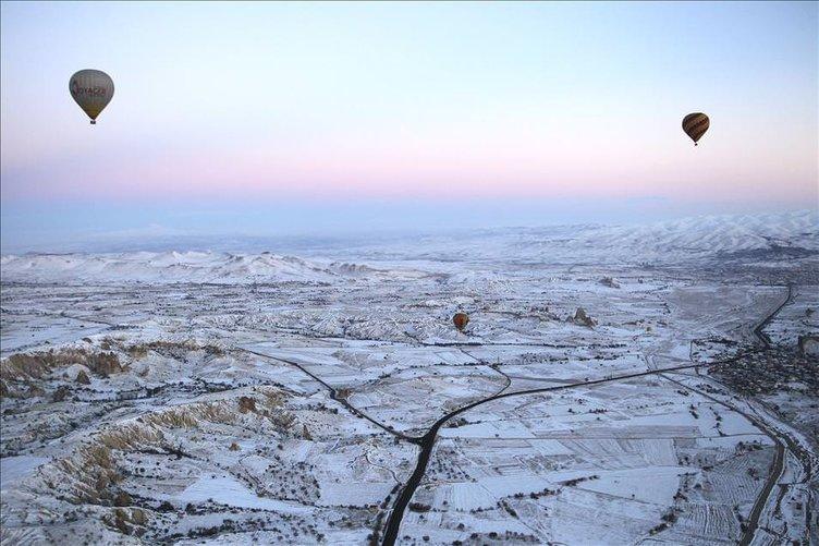Kapadokya beyaz örtüyle kaplandı
