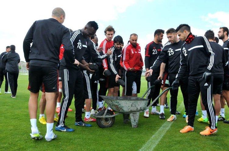 Sivassporlu futbolcular antrenmana kömür getirdiler