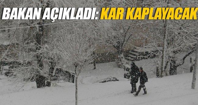 Bakan açıkladı: Türkiye'yi kar kaplıyor