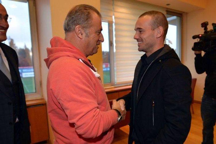 Sneijder ile Fatih Terim yan yana