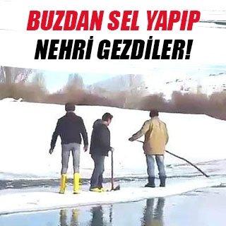 Buzdan sal yapıp nehri geçtiler