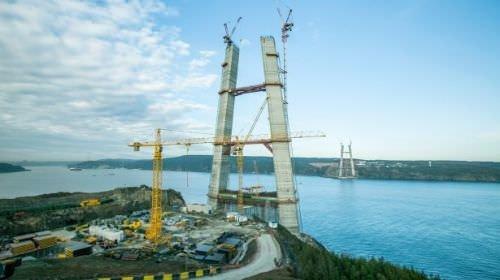 3. Köprünün 322 metrelik ayakları tamamlandı