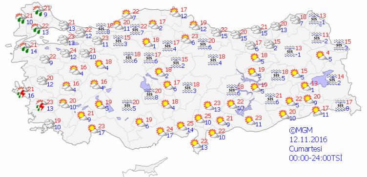 Yurtta 5 günlük hava durumu (12.11.2016)