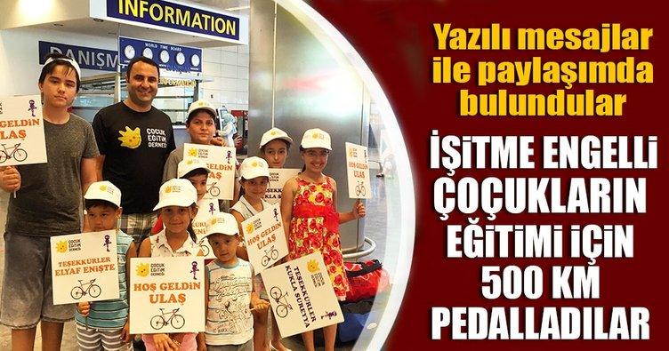 İşitme engelli çocukların eğitimi için 500 km pedalladılar