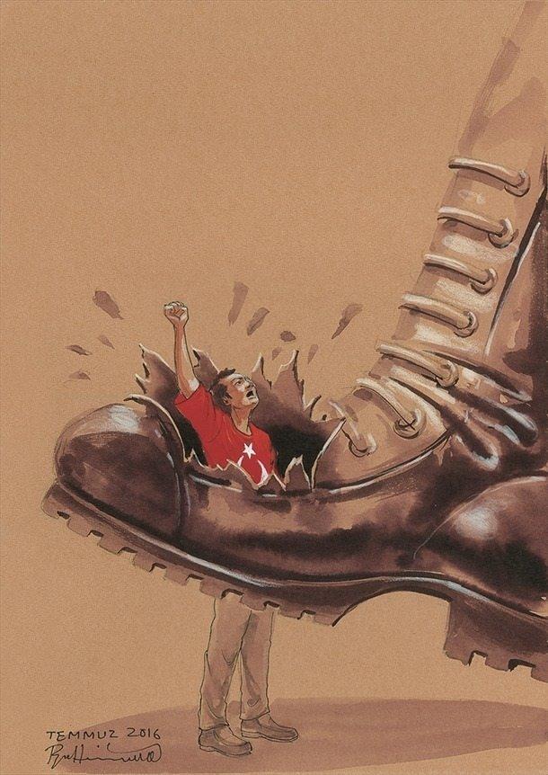 İranlı sanatçıdan muhteşem 15 Temmuz çizimleri
