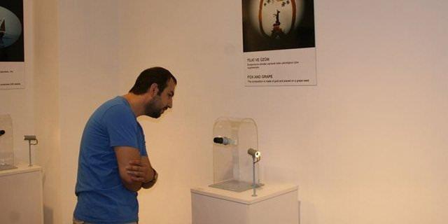 Sadece mikroskopla görülebilen eserler sergilendi