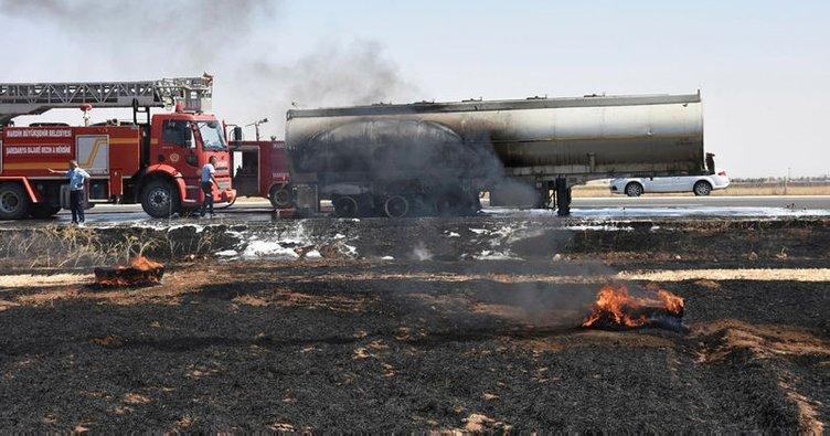 Mardin'de ham petrol yüklü tanker yandı!