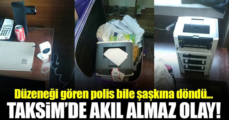 Taksim'de otel odasında otomatik bildiri makinesi bulundu!