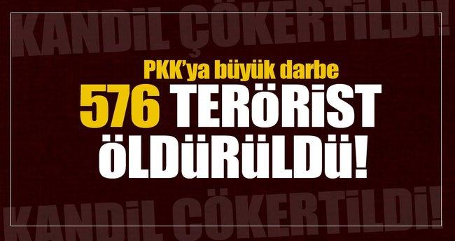 PKK'ya büyük darbe! 576 terörist öldürüldü