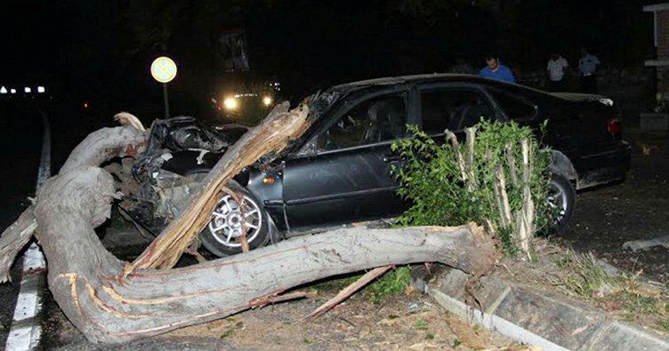 Ağaca çarpan otomobilde öldü
