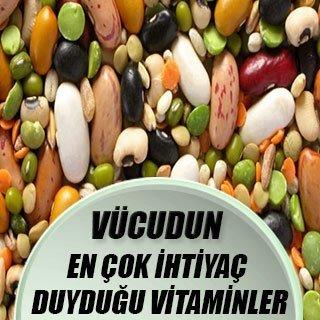 Vücudun en çok ihtiyaç duyduğu vitaminler