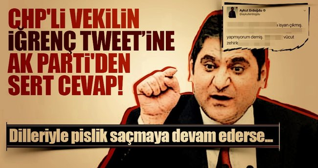 CHP'li vekilin iğrenç tweetine AK Parti'den sert cevap!