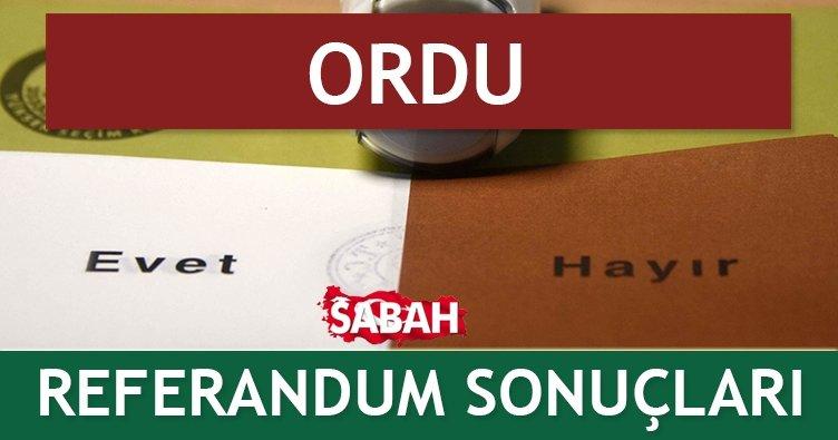 ORDU Referandum Sonuçları - İşte 16 Nisan 2017 Referandumu Evet/Hayır Sonucu