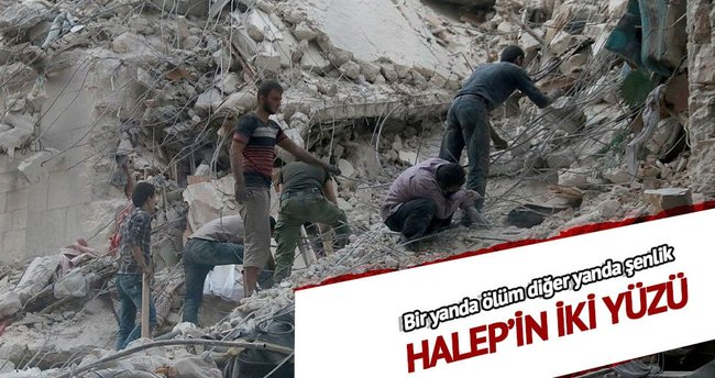 Halep'in iki yüzü: Bir yanda ölüm diğer yanda şenlik