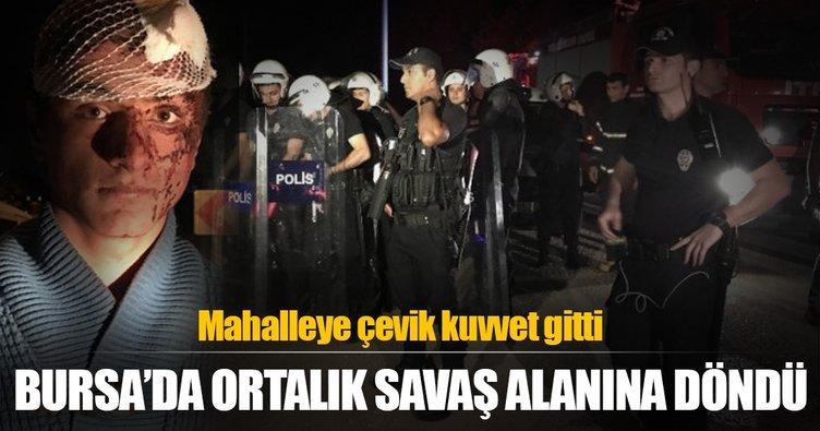 Bursa'da ortalık savaş alanına döndü! Mahalleye çevik kuvvet gitti