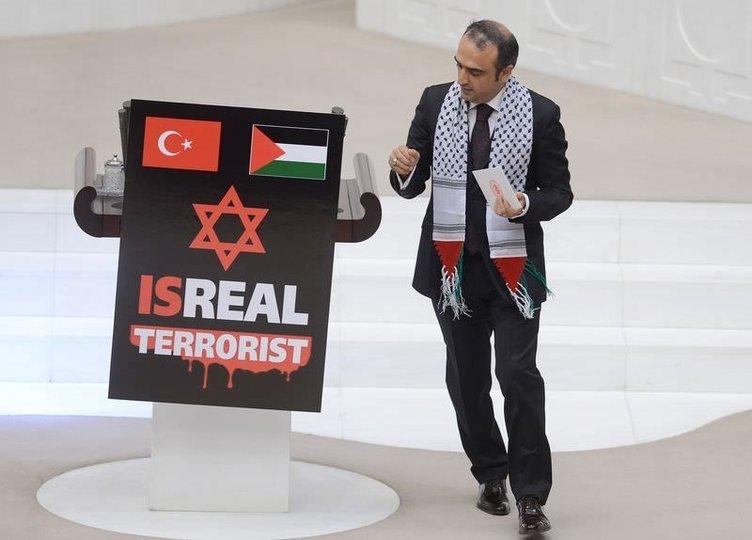 TBMM'de İsrail'e pankartlı protesto