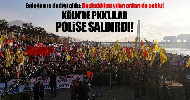 Köln polisi PKK'lı göstericilerin numaralı fotoğraflarını çekti