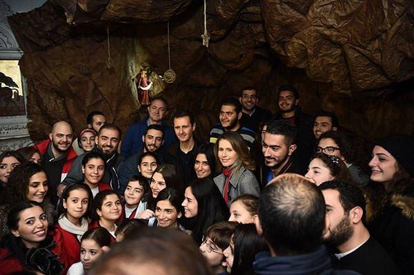 Beşar Esad Noel kutlamasında