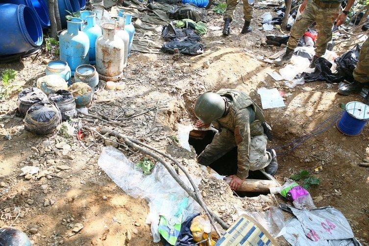 Lice'de teröristlere ait 19 sığınak imha edildi