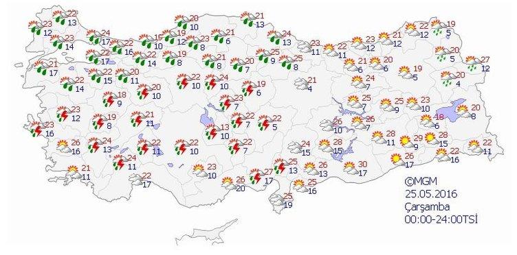 Yurtta 5 günlük hava durumu (25.05.2016)