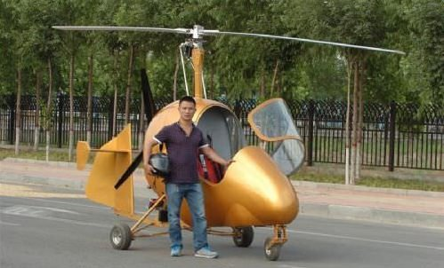 Kendi helikopterini yaptı