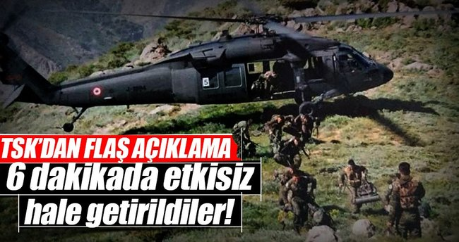 Dağlıca'ya hava harekatı: 7 terörist öldürüldü
